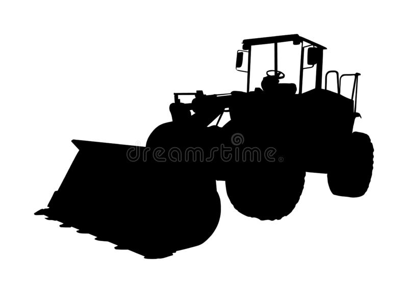 Big bulldozer loader vector silhouette isolated on white background. Dusty digger silhouette illustration. Excavator dozer. Big bulldozer loader vector vector illustration