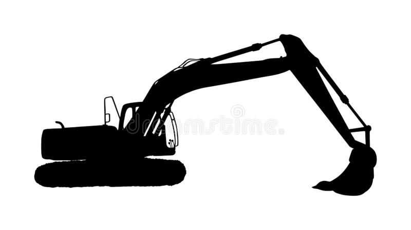 Big bulldozer loader vector silhouette isolated on white background. Dusty digger silhouette illustration. Excavator dozer. Big bulldozer loader vector stock illustration
