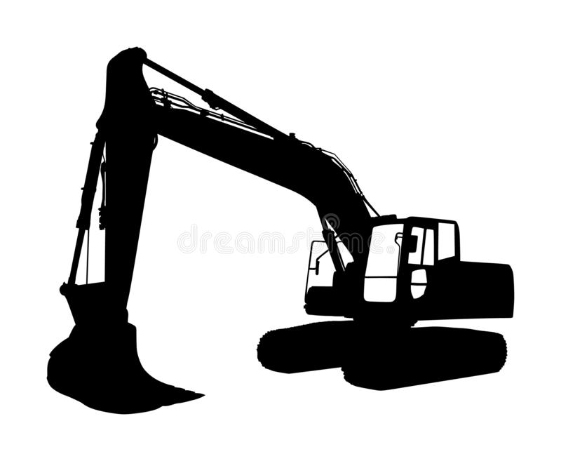 Big bulldozer loader vector silhouette isolated on white background. Dusty digger silhouette illustration. Excavator dozer. Big bulldozer loader vector royalty free illustration