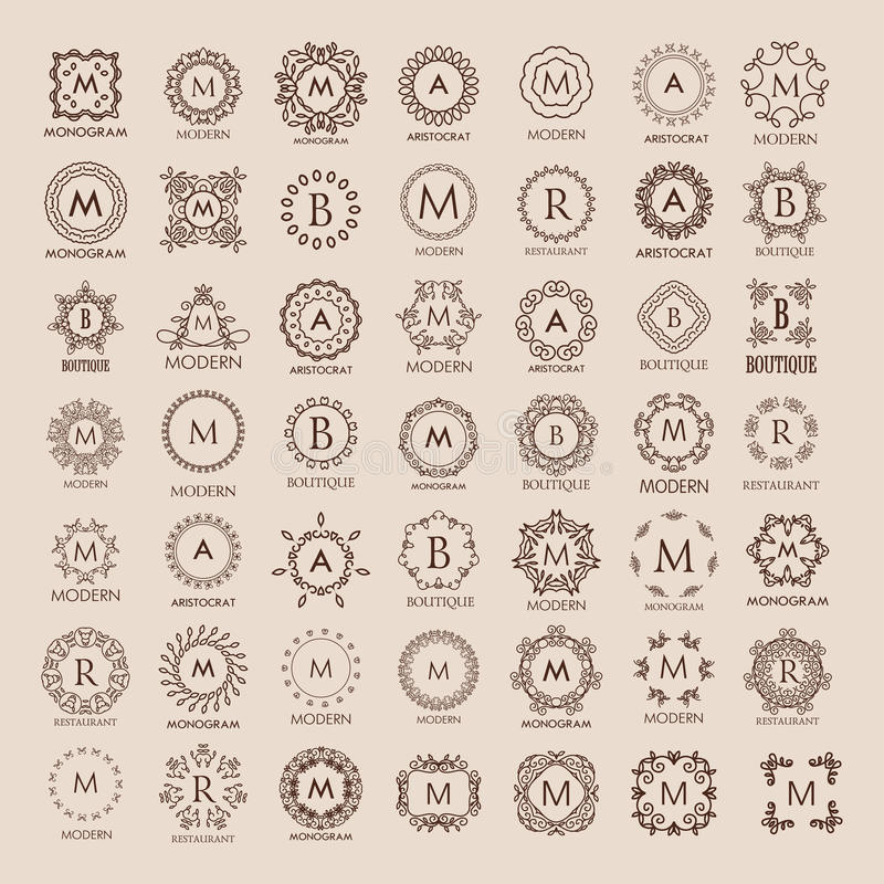 Big bunch of luxury, simple and elegant monogram design templates. Good for labels and logos. Vector illustration. Line style. Big set of monograms. Monogram stock illustration
