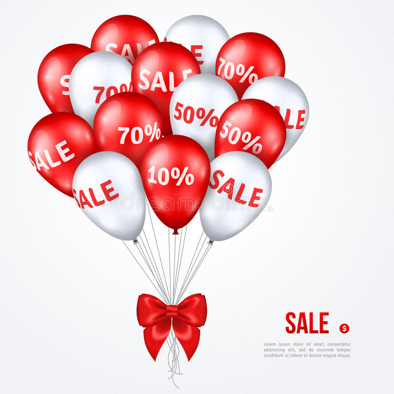 Big Bunch of Red and White Shining Sale Balloons. Big Bunch of Red and White Shining Balloons with Silk Ribbon Bow. Vector Illustration. Sale poster. Super Sale stock illustration