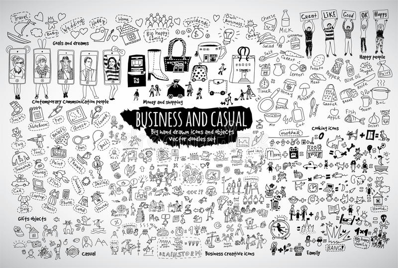 Big bundle business casual doodles icons and objects. royalty free illustration