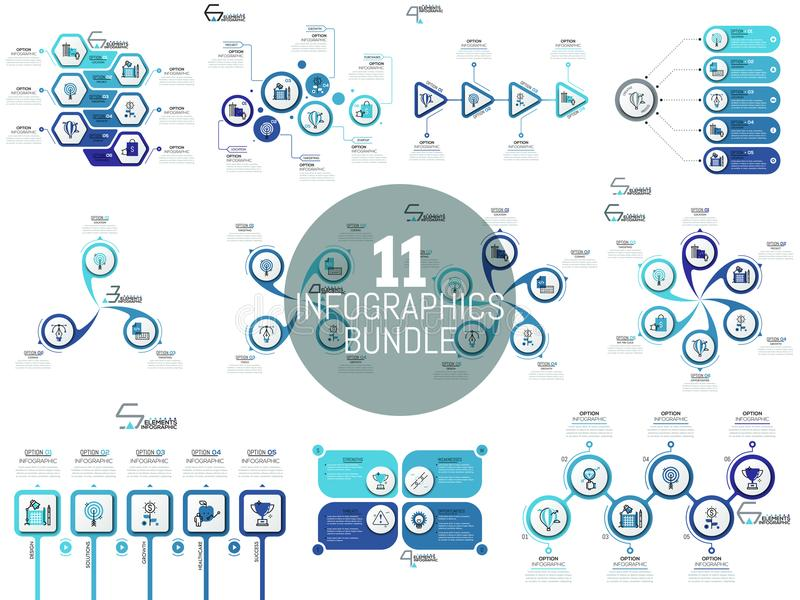 Big bundle of minimal infographic templates, diagrams and charts. royalty free illustration