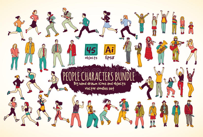 Big bundle people characters doodles color icons. vector illustration