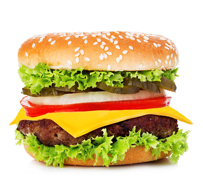 Big burger, hamburger, cheeseburger close-up on a white background stock images