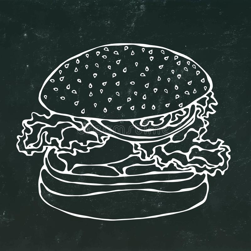 Big Burger , Hamburger or Cheeseburger.Isolated on a Black Chalkboard Background. Realistic Doodle Cartoon Style Hand royalty free illustration