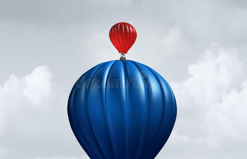 Big Business Assistance. And support financial and corporate concept as a large air balloon lifting up a small entity as a symbol for investment and funding vector illustration