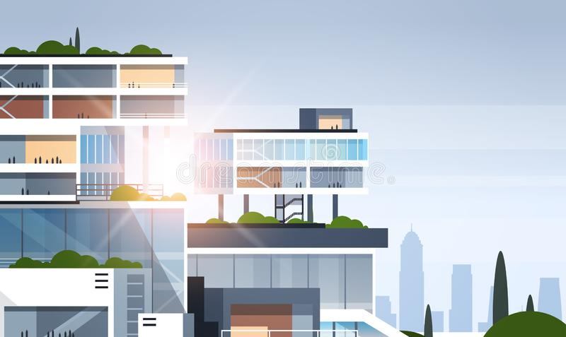 Big business center cutaway corporate office building inside and outside construction model in section concept flat vector illustration