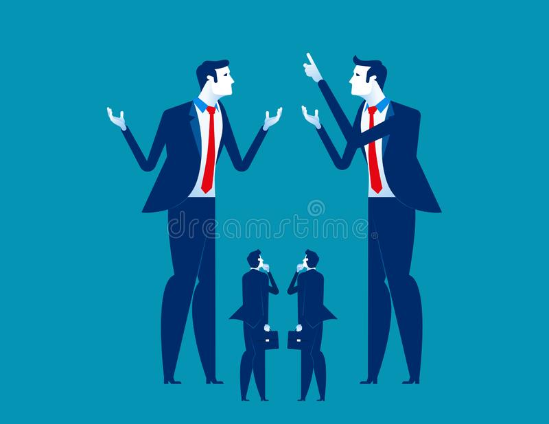 Big business explaining to small business. Concept business vector illustration royalty free illustration