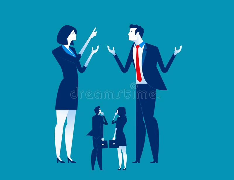 Big business explaining to small business. Concept business vector illustration stock illustration