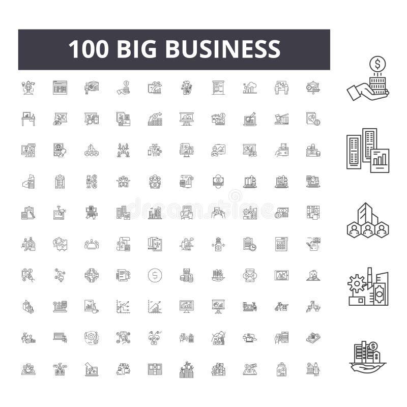 Big business line icons, signs, vector set, outline illustration concept stock illustration