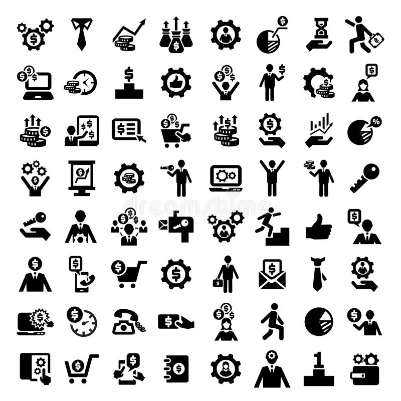 Big business success icons set royalty free illustration