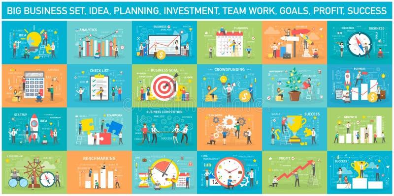 Big business web banner concept set. Web page vector illustration
