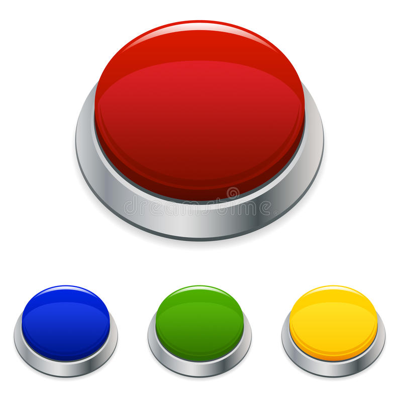 Big Button Icon. An illustration of a big red button icon, also available in different colors stock illustration