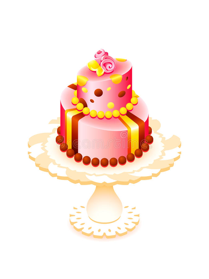 Big cake. Big decorated cake for birthday or party isolated vector illustration