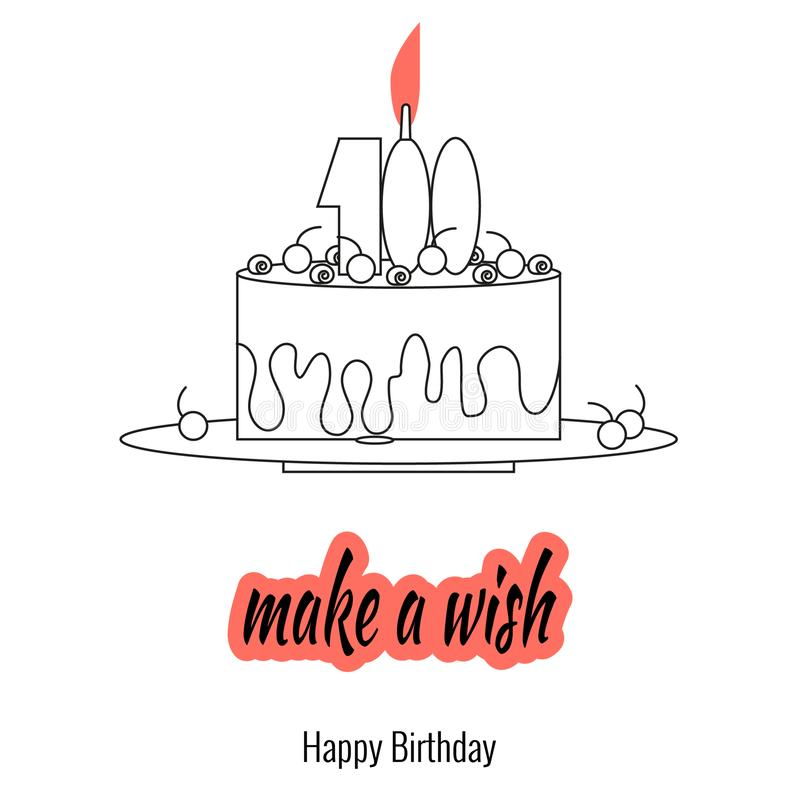 Big cake on plate with candle - make a wish. Elements of holiday greetings in linear style. vector illustration