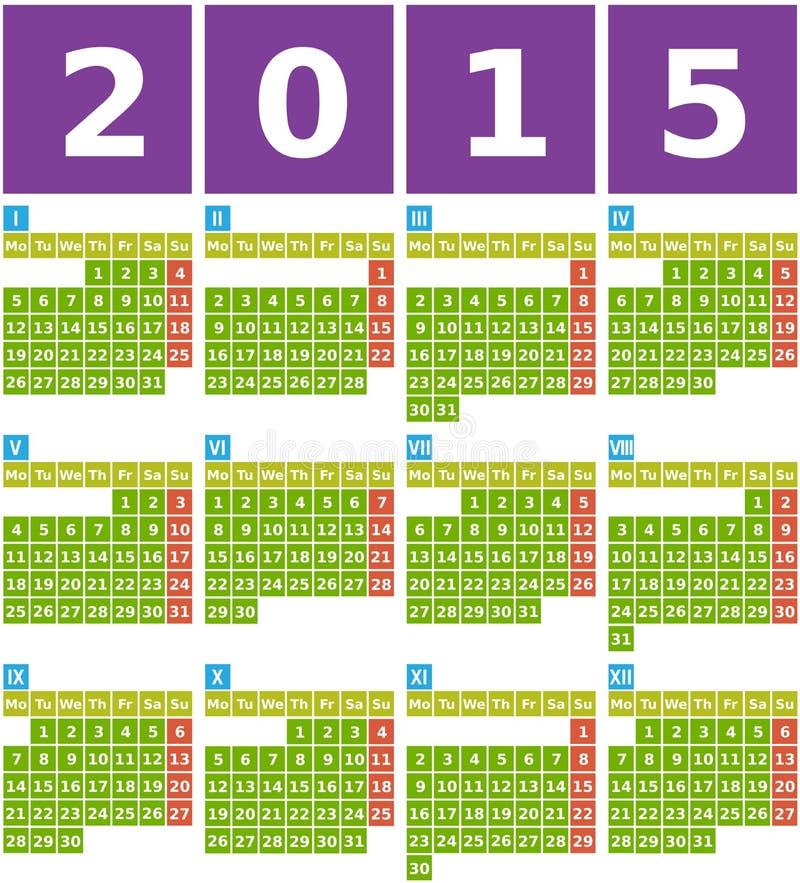 Calendar Design Using Photo : Big calendar in flat design with simple square icons