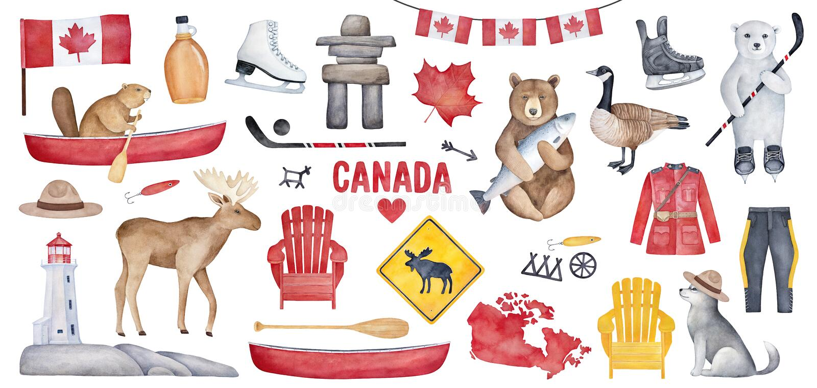 Big Canada Set with various symbols like national flag, maple syrup bottle, lighthouse, hockey skates. Handdrawn watercolour paint on white background, cutout royalty free illustration