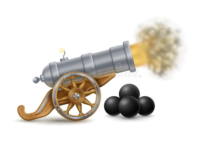 Big Cannon and Cannonballs royalty free illustration