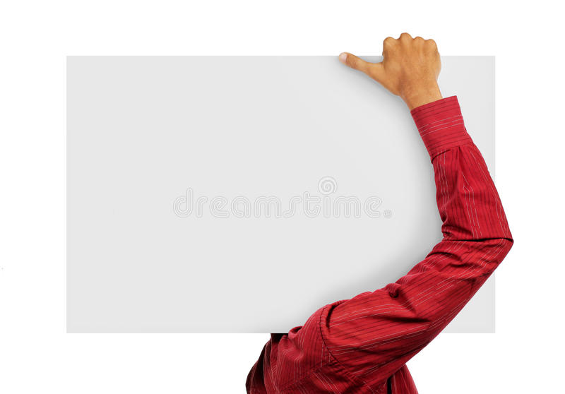 Big card. Man in nice red suit holding a big blank card in unique way royalty free stock image