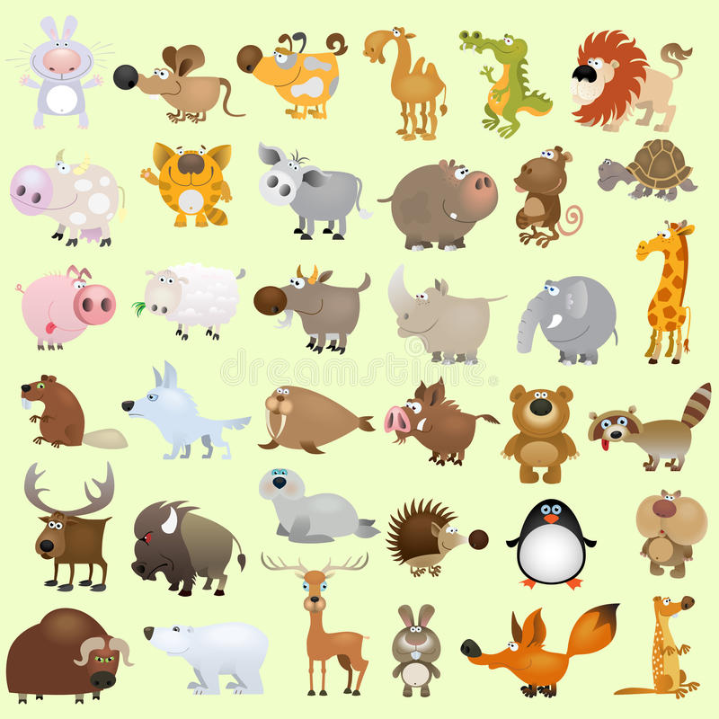 Big cartoon animal set vector illustration