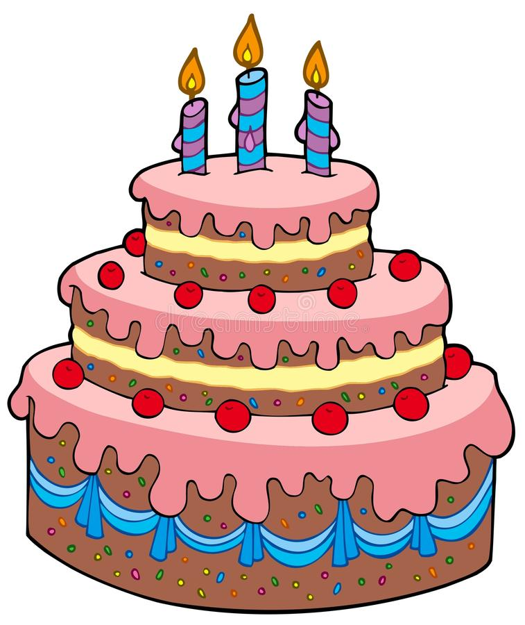 Big cartoon birthday cake vector illustration