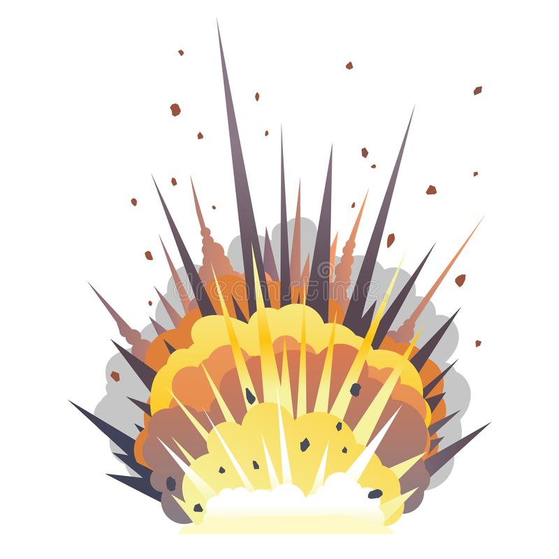 One big cartoon bomb explosion on ground. Big cartoon bomb explosion on ground with shrapnel and fireball, isolated on white, bright fiery explosion with yellow royalty free illustration