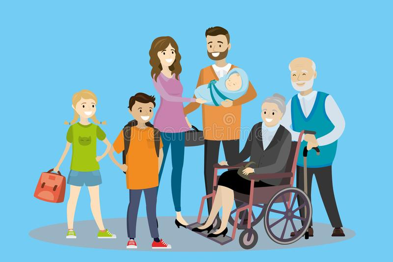 Big cartoon family. Father, mother with children and old people- grandmother in wheelchair and grandfather, vector illustration royalty free illustration