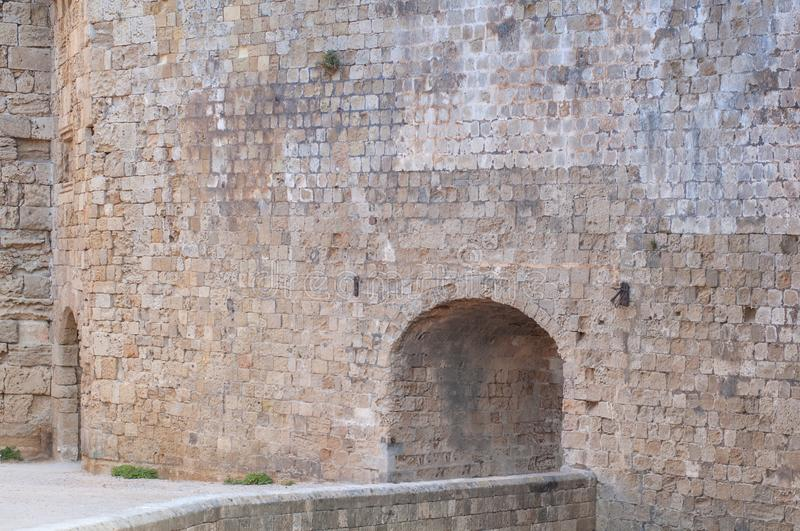 Big castle wall stone architecture building with entrance detail royalty free stock images
