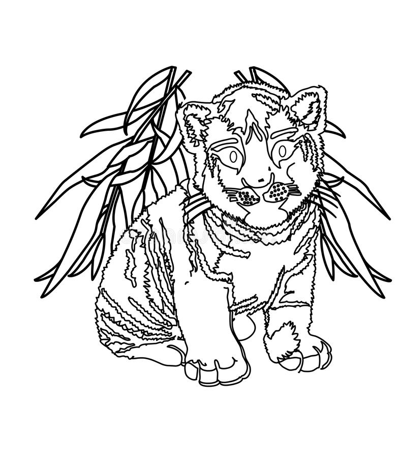 Download Big Cat Coloring Page Stock Illustration Of Elementary