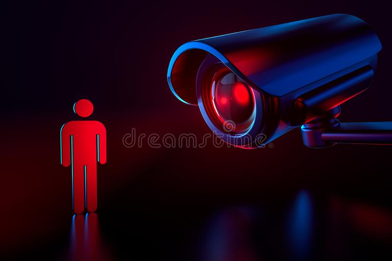 Big cctv as a metaphor of surveillance system checking personal data in security system. Obey and procreate concept. 3D rendering royalty free illustration