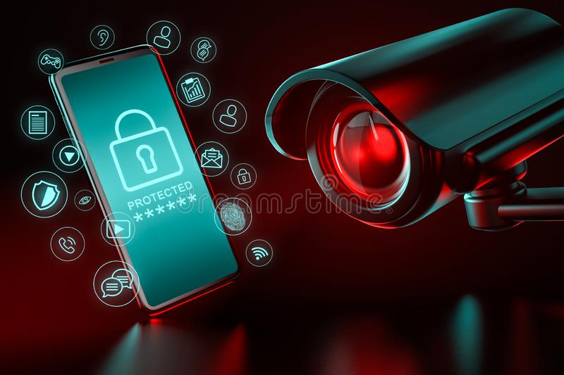 Big CCTV focusing on a smartphone and icons hovering around it as a metaphor of data leakage and ways to protect it. 3D rendering royalty free illustration