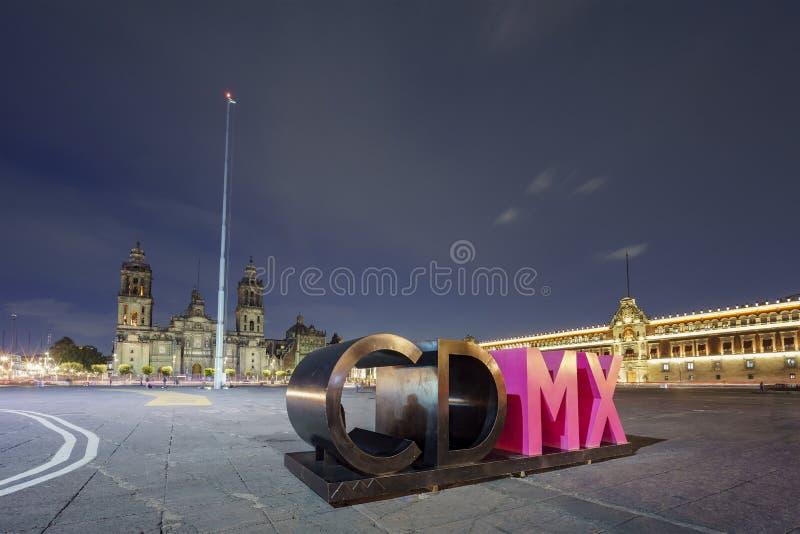 The big CDMX art word at Zocalo. Night view of the big CDMX art word at Zocalo, Mexico City stock photo