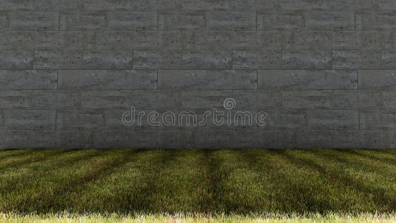 Big Cement Bricks Wall and Grass Floor royalty free stock photo