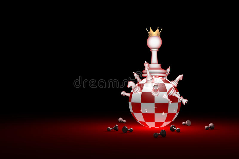 Big changes. The new ruler. Elite Society chess metaphor. 3D r. Chess composition. Big changes. The new ruler. Available in high-resolution and several sizes to stock illustration