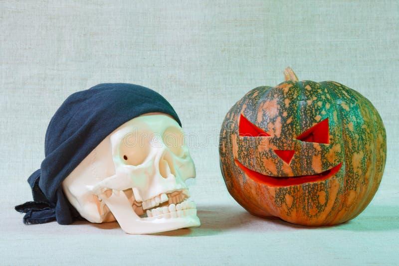 Download The Big Cheerful Halloween Pumpkin And Skull Stock Image - Image: 20293451