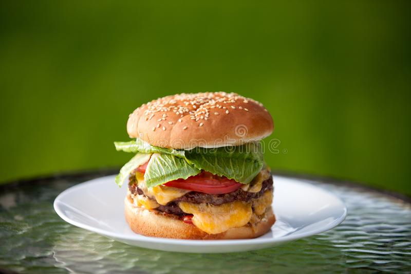 Big cheeseburger with melty cheddar cheese and sesame seed bun royalty free stock photos