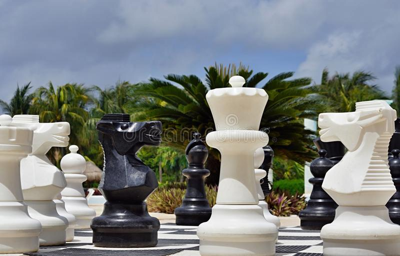 Big Chess For Game On A Beach Royalty Free Stock Photography