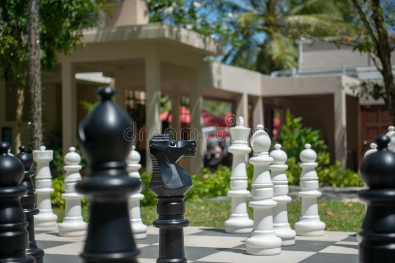 Big chessboard pieces stock photo