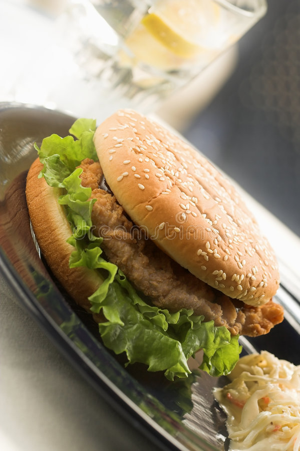 Big chicken burger royalty free stock images