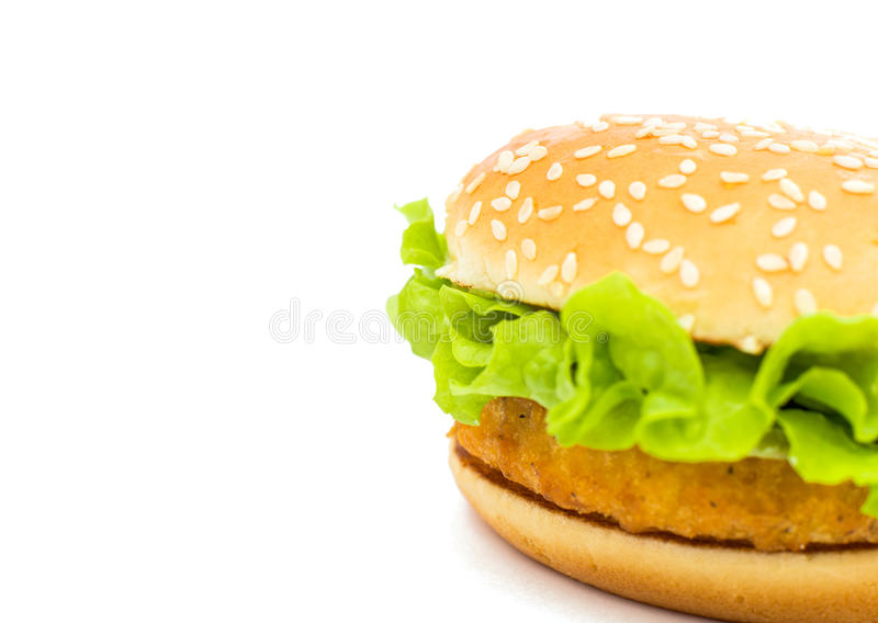 Big chicken hamburger royalty free stock images