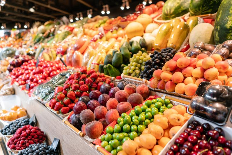 Big choice of fresh Fruit and vegetable market. Various colorful fresh fruits and vegetables. Fresh and organic royalty free stock photography