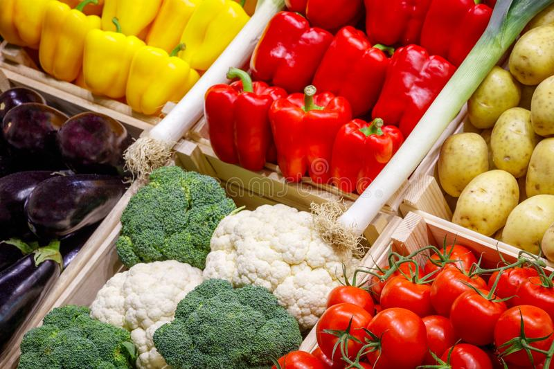 Big choice of fresh fruits and vegetables on market counter. royalty free stock photography