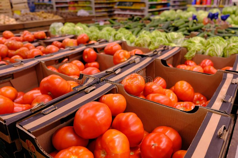 Big choice of fresh fruits and vegetables royalty free stock photos