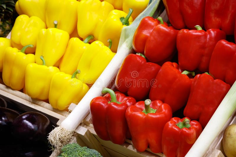 Big choice of fresh fruits and vegetables on market counter. stock photo