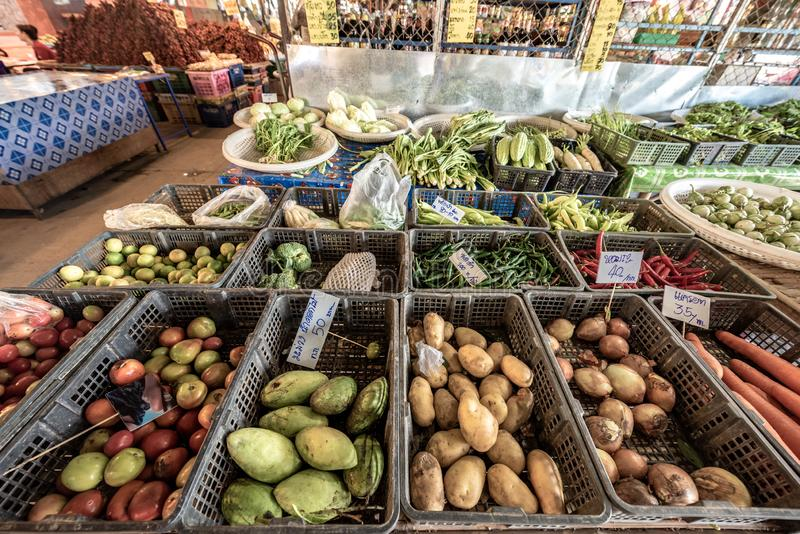 Big choice of fresh fruits and vegetables on market counter stock photos