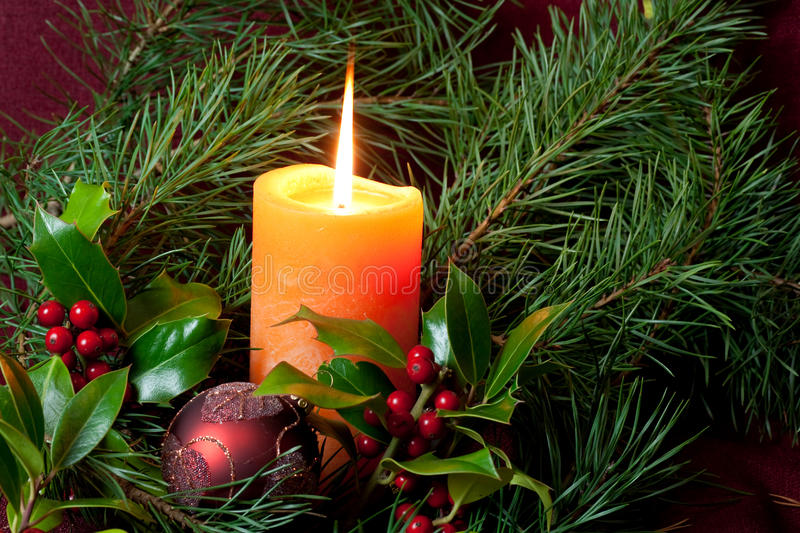 Download Big Christmas  Baubles And Candles On Dark Stock Image - Image: 11589629