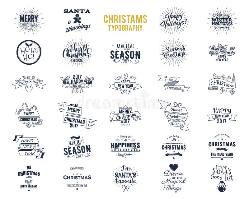 Big Christmas bundle - typography wishes, funny badges, holiday icons and other elements. New Year 2017 lettering. Sayings and vintage labels. Season`s vector illustration