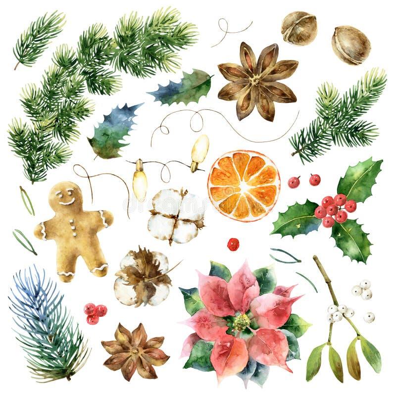 Big Christmas set of watercolor elements stock illustration