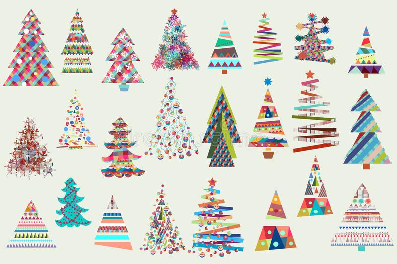 Big Christmas collection of vector Xmas trees. In funky colors stock illustration